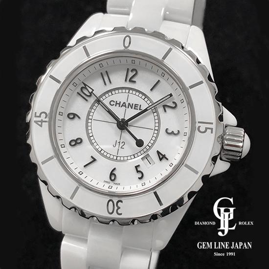 【中古】美品 シャネル J12 H0968 白セラミック レディース QZ 腕時計