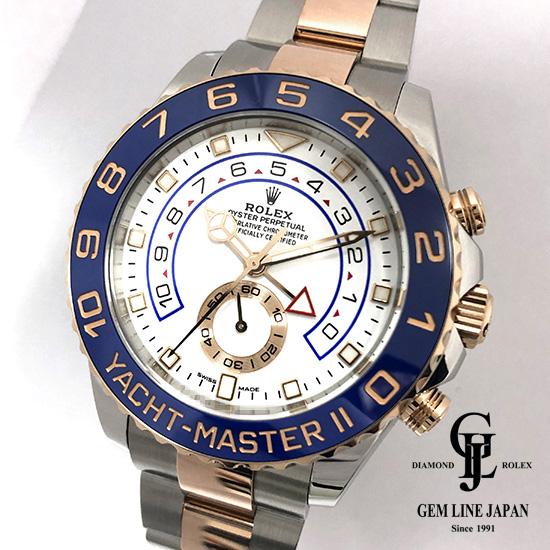【中古】美品 新型ベンツ針 2018年10月ギャラ付 ロレックス ヨットマスターII 116681 ルーレット刻印 PG/SS メンズ 腕時計