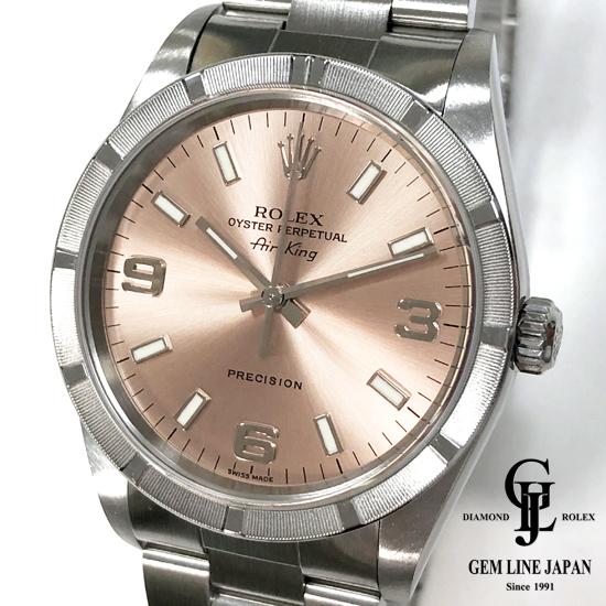 【中古】美品 ロレックス エアキング14010M D番 ピンク文字盤 メンズ 自動巻き 腕時計