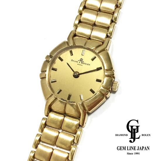 【中古】Aランク ボーム&メルシェ K18イエローゴールド無垢 クォーツ レディース 腕時計