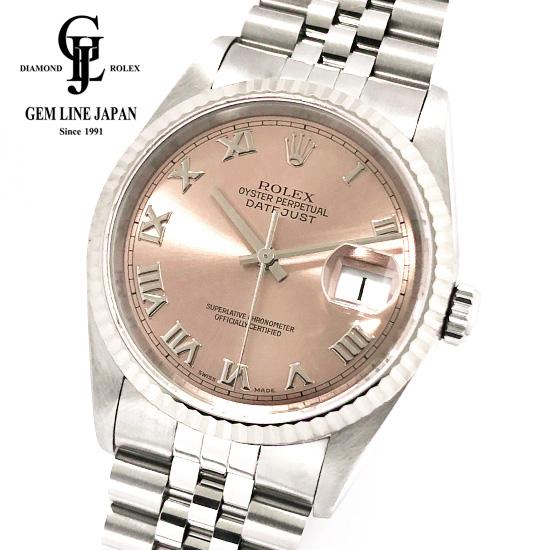 【中古】ギャラ付 ロレックス デイトジャスト 16234 U番 WG/SS メンズ ローマ 腕時計
