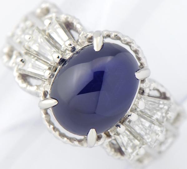 ビルマ産 非加熱 スターサファイア5.72ct ダイヤモンド計0.94ct リング #11 プラチナ【中古】(2200000195975)