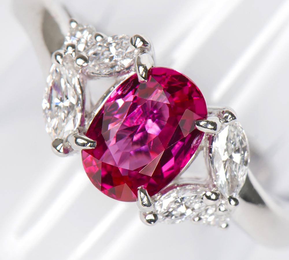 ビルマ産 非加熱 ルビー1.41ct ダイヤモンド 計0.36ct プラチナ900 12号 リング・指輪【中古】(2200000208491)