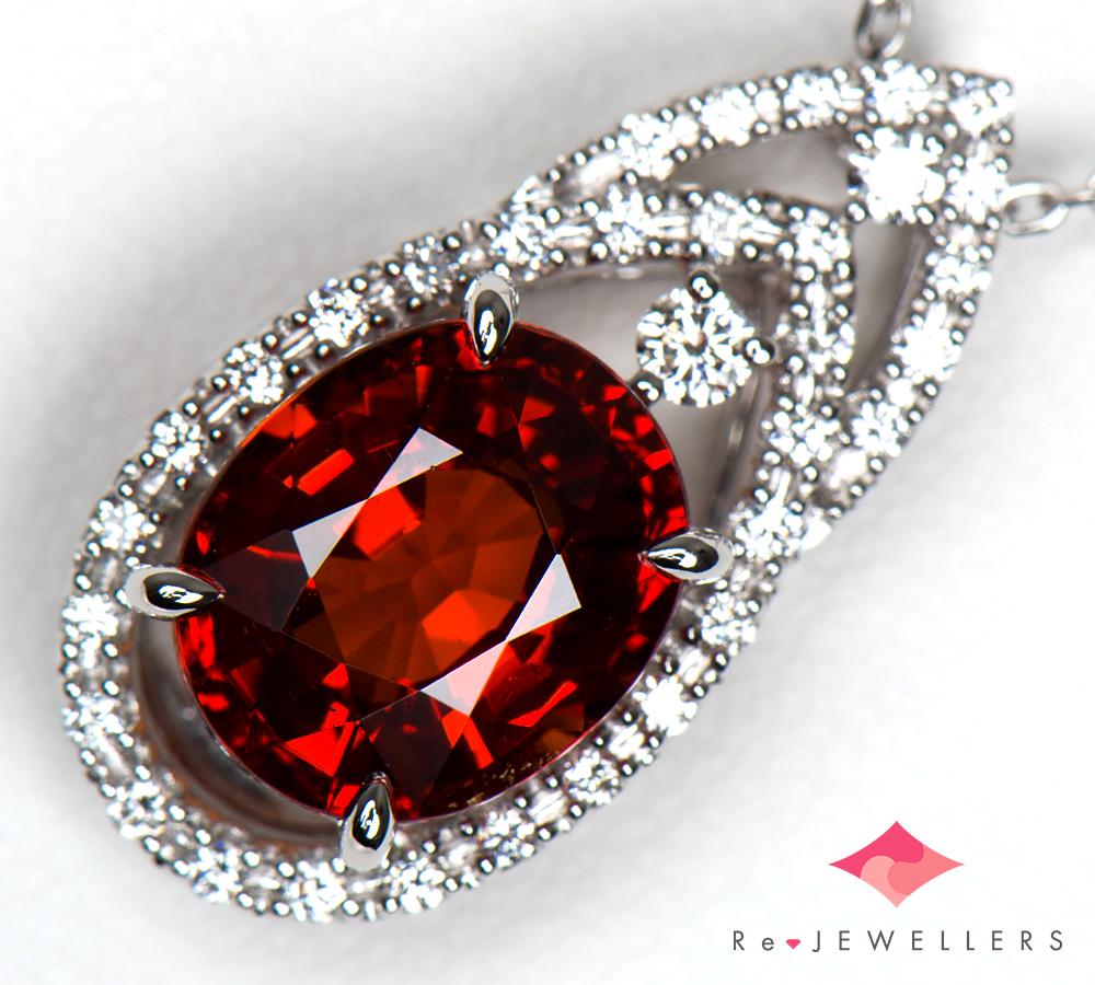 田崎真珠 ガーネット3.99ct ダイヤモンド 計0.19ct 18金ホワイトゴールド ペンダント・ネックレス【中古】(2200000330970)