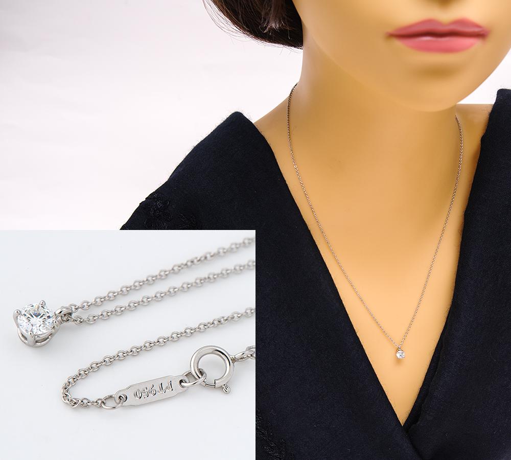 蒂芙尼大头钉钻石白金950吊坠·项链(2200000224163)