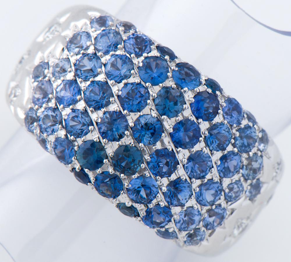 グラデーション ブルーサファイア計2.80ct ダイヤモンド 計0.30ct 18金ホワイトゴールド 11号 リング・指輪【中古】(2200000226198)