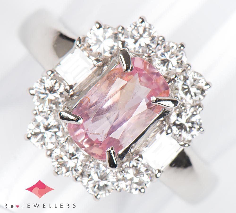 非加熱 ピンクサファイア1.32ct ダイヤモンド 計0.85ct プラチナ900 13号 リング・指輪【中古】(2200000228291)