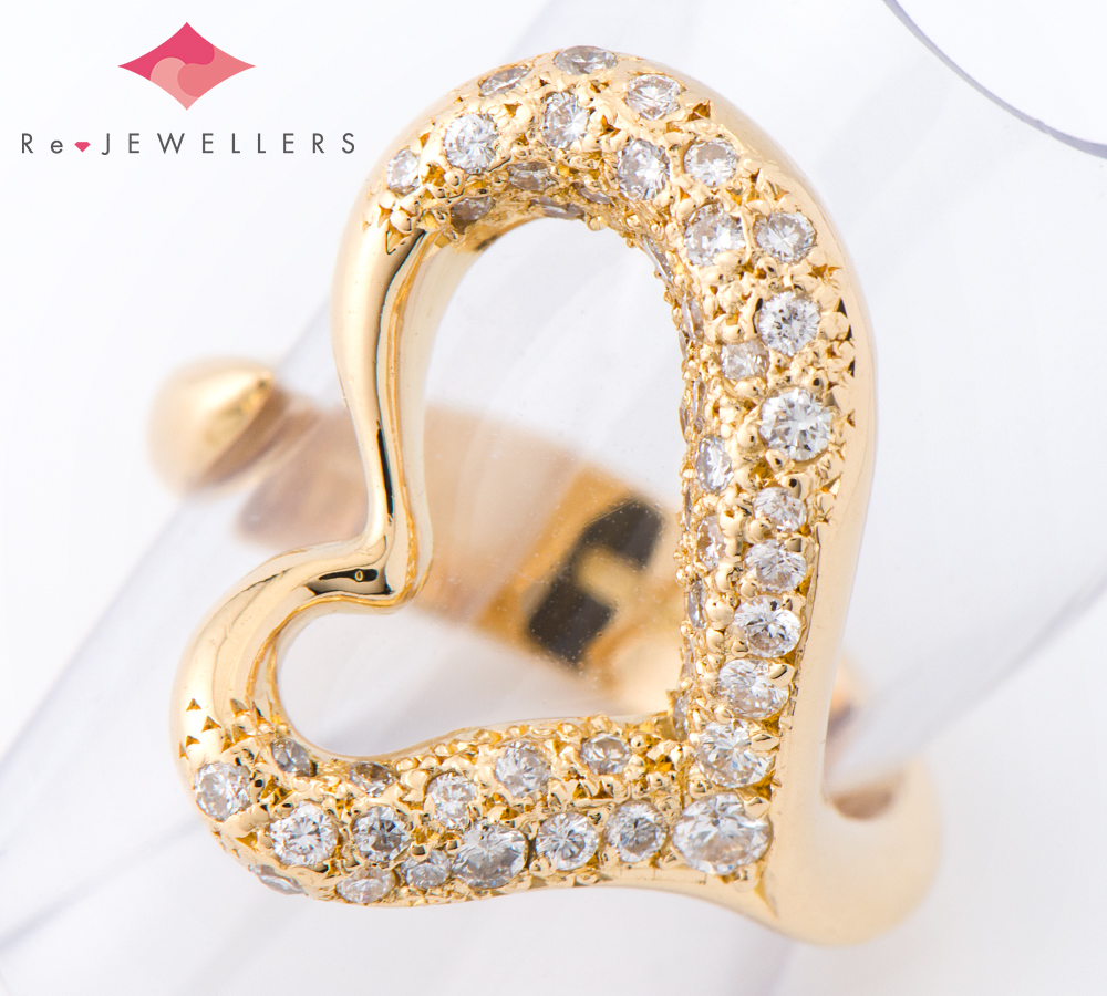 ティファニー ハート ダイヤモンド 18金イエローゴールド 7号 リング・指輪【中古】(2200000243669)
