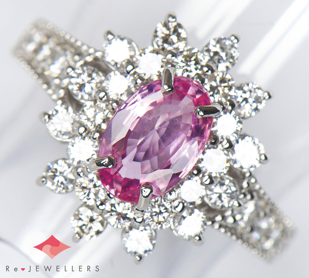 非加熱 パパラチアサファイア1.142ct ダイヤモンド 計0.93ct プラチナ900 12号 リング・指輪【中古】(2200000249371)