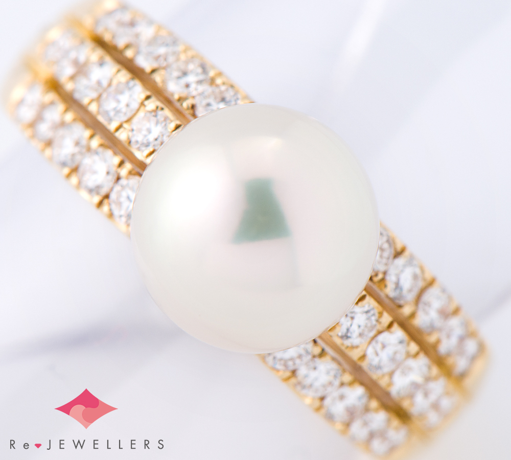 和光 8.0mm アコヤ真珠 ダイヤモンド 計0.52ct 18金イエローゴールド 8号 リング・指輪【中古】(2200000249470)