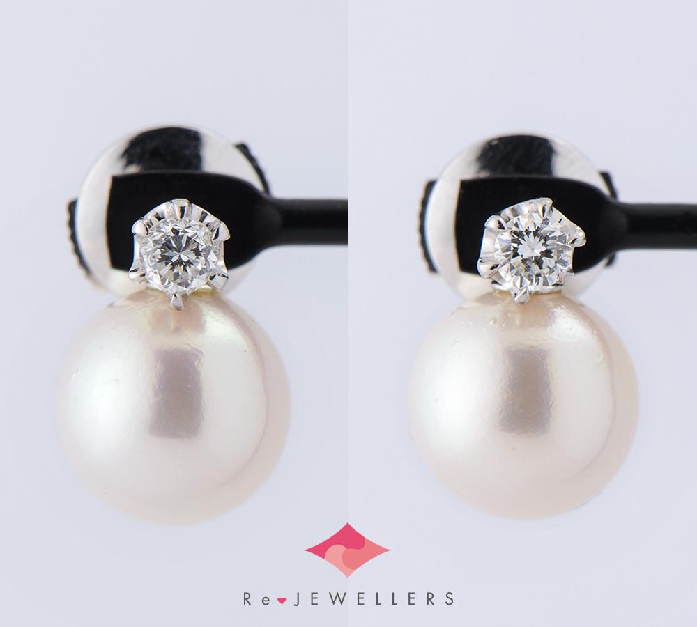 아코야 진주 다이아몬드 0.06/0. 06 ct 18금 화이트 골드 피어스(2200000262318)