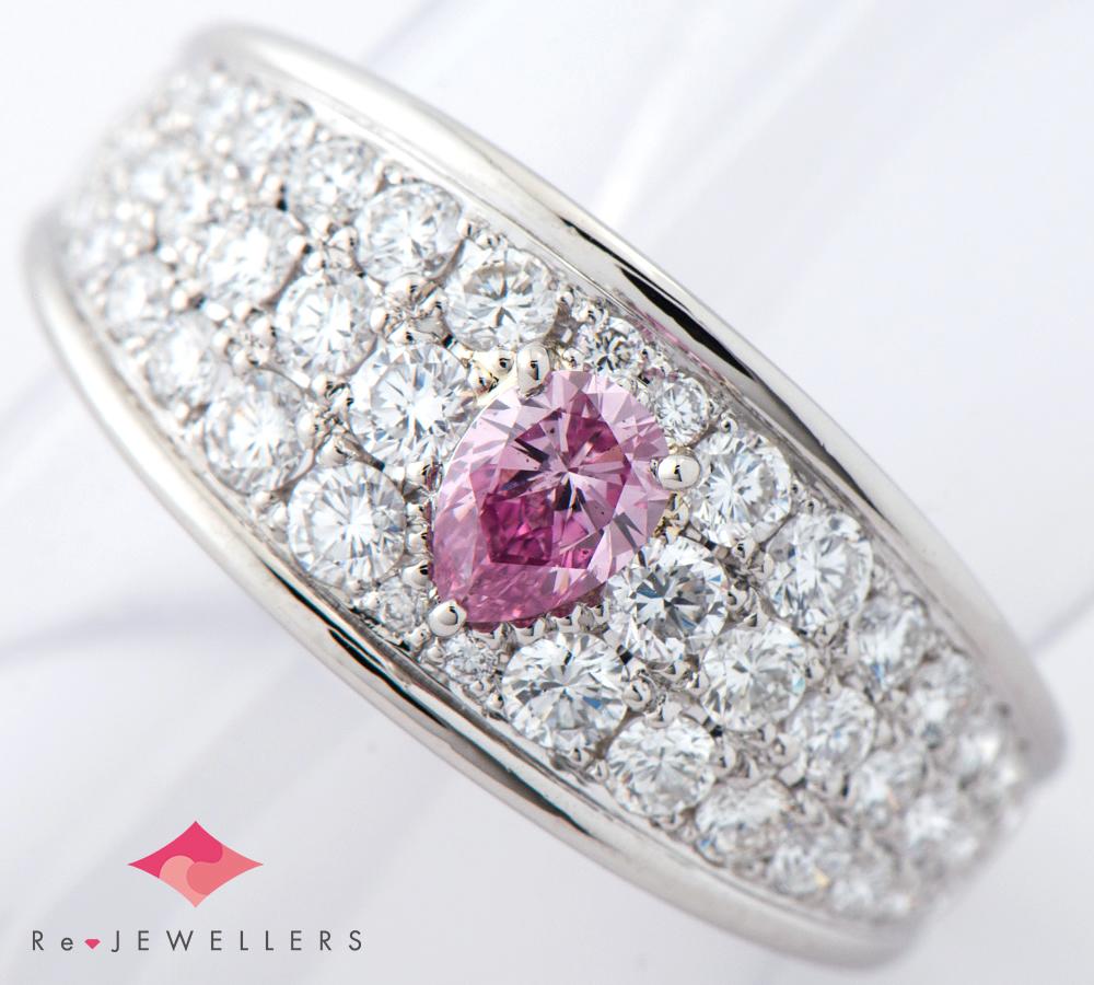 FANCY VIVID PURPLE-PINK ダイヤモンド0.257ct ダイヤモンド 計1.01ct プラチナ950 12号 リング・指輪【中古】(2200000263919)
