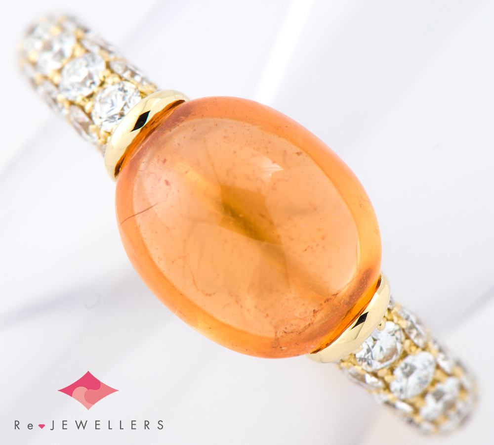 ギメル スペサルティンガーネット4.055ct ダイヤモンド 計0.901ct 18金イエローゴールド 10号 リング・指輪【中古】(2200000268655)