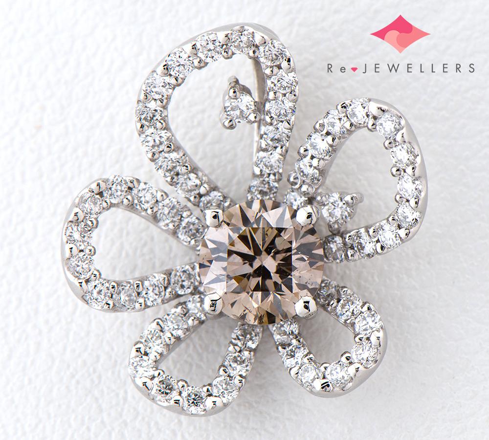フラワーモチーフ ブラウン ダイヤモンド0.581ct ダイヤモンド 計0.40ct プラチナ900 ペンダントトップ【中古】(2200000270399)
