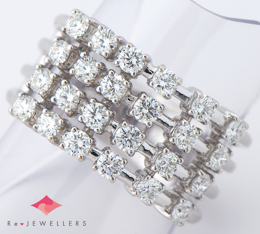 田崎真珠 ダイヤモンド計0.98ct 18金ホワイトゴールド 11.5号 リング・指輪【中古】(2200000265821)