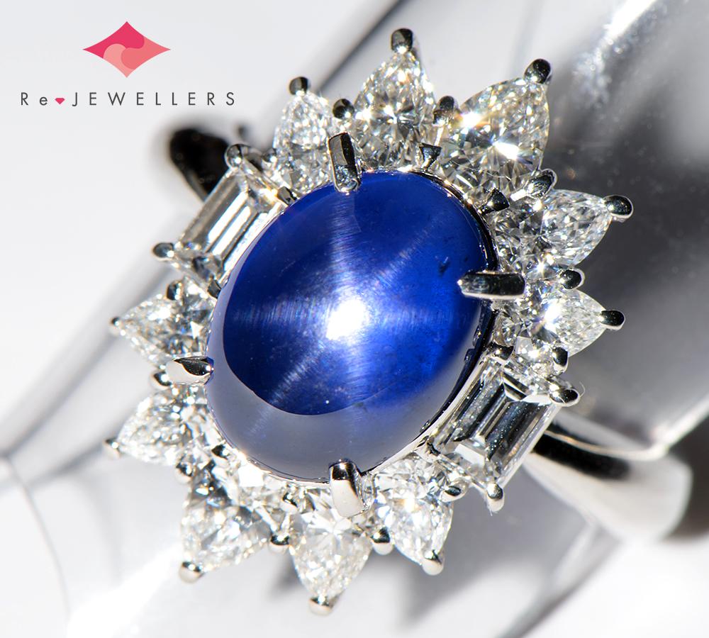 三越 ビルマ産 非加熱 スターサファイア6.71ct ダイヤモンド 計1.49ct プラチナ900 12号 リング・指輪【中古】(2200000267603)