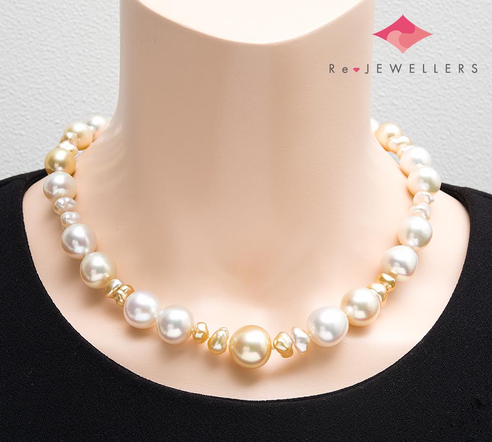 田崎真珠 バロック 白蝶真珠(南洋真珠) ダイヤモンド 計0.01ct 18金ホワイトゴールド ネックレス【中古】(2200000271167)