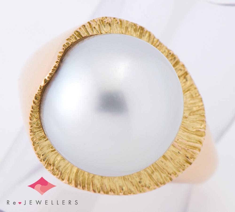 田崎真珠 12.9mm 白蝶真珠(南洋真珠) 18金イエローゴールド 13号 リング・指輪【中古】(2200000275974)
