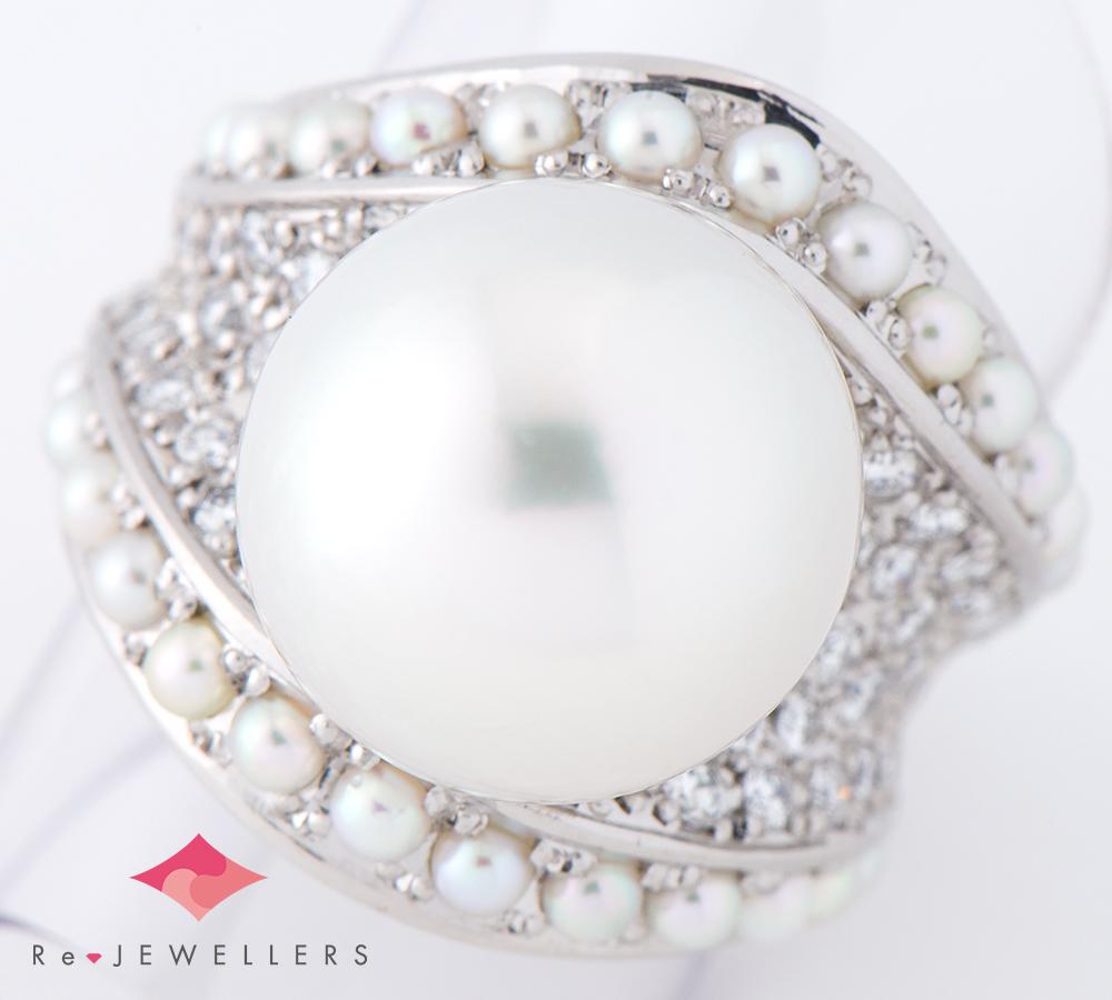 13.2mm 白蝶真珠(南洋真珠) ベビーパール ダイヤモンド 計0.69ct プラチナ900 11号 リング・指輪【中古】(2200000285065)