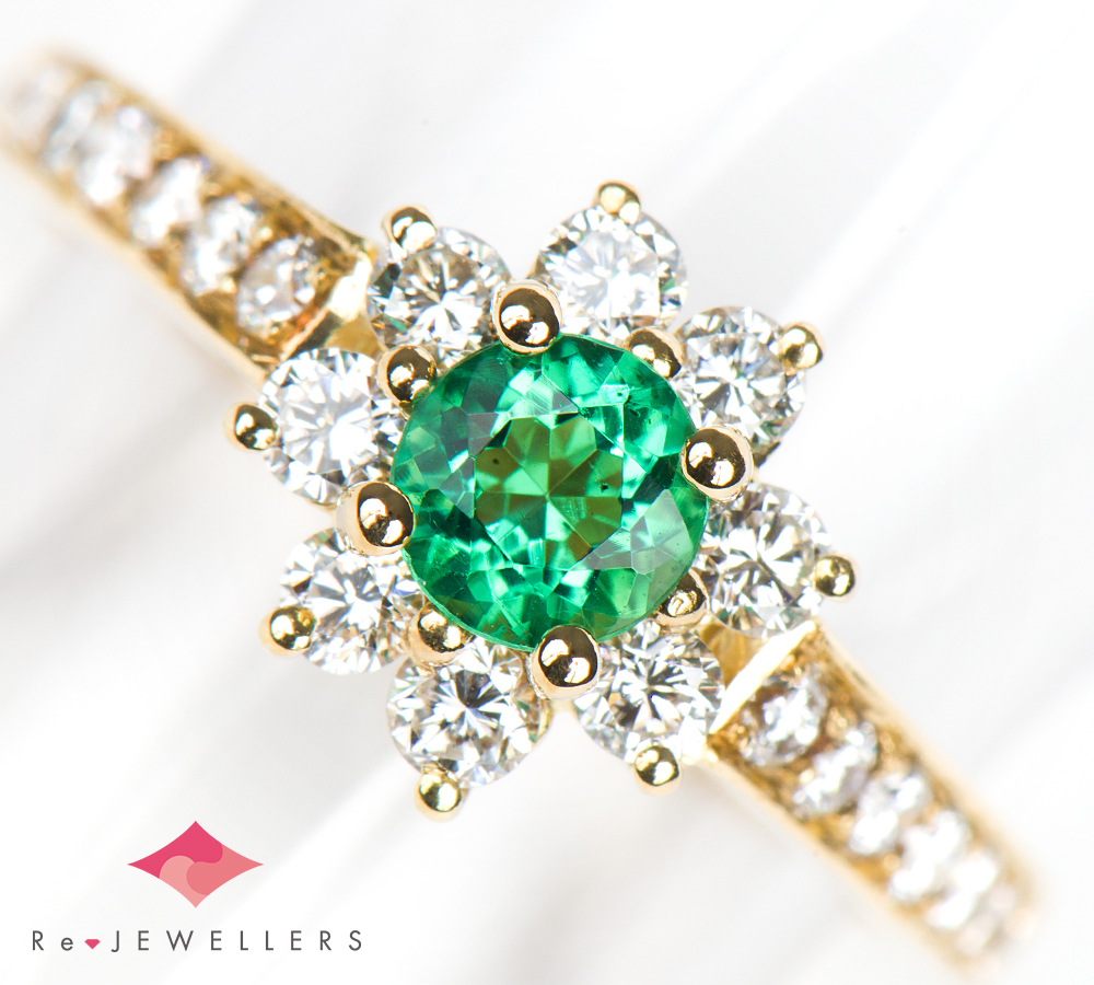 100% authentic 97af3 692fc ティファニー フローラ エメラルド ダイヤモンド 18金イエローゴールド 9号 リング・指輪【中古】(2200000290007)|福岡宝石市場