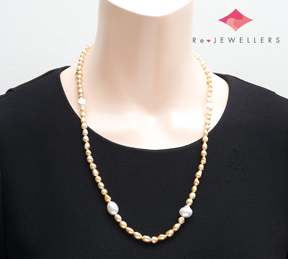 ミキモト ケシ(無核パール) セミロング 南洋真珠 18金イエローゴールド ネックレス【中古】(2200000292063)