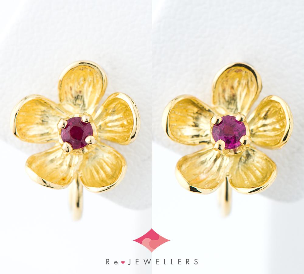 ac1519b40 Tiffany flower motif ruby 18-karat gold yellow gold earrings  (2200000301109) ...