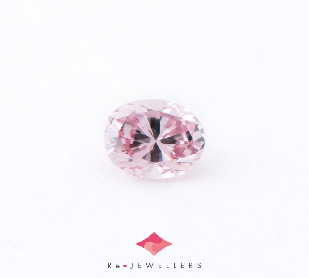 FANCY PURPLISH PINK-VS2 オーバル ダイヤモンド0.078ct ルース(2200000299789)