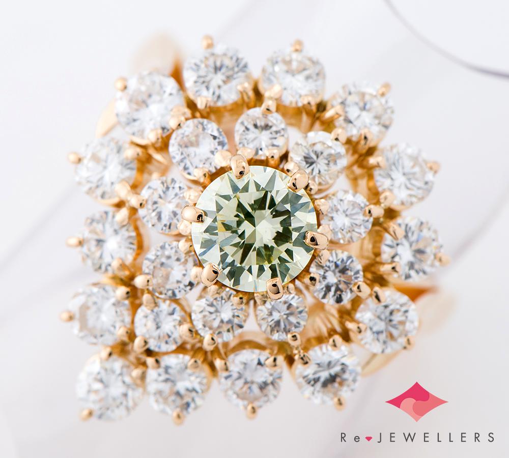 田崎真珠 FANCY LIGHT YELLOW GREEN ダイヤモンド0.748ct ダイヤモンド 計2.21ct 18金イエローゴールド 11.5号 リング・指輪【中古】(2200000310309)