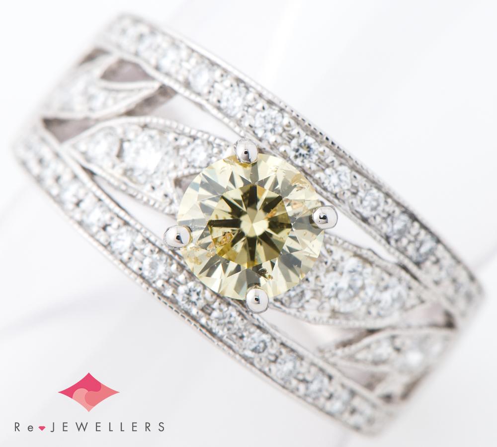 FANCY YELLOW ダイヤモンド0.772ct ダイヤモンド 計0.50ct プラチナ900 12号 リング・指輪【中古】(2200000319661)