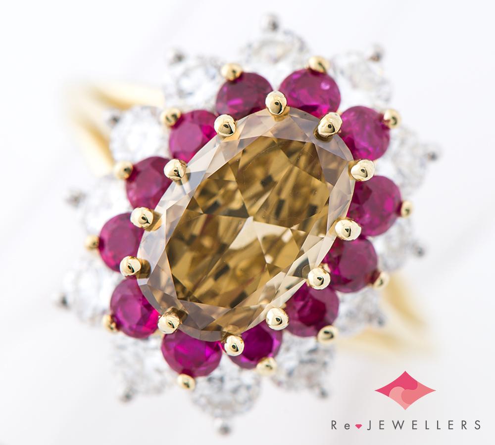 イエロー ブラウン ダイヤモンド ルビー 新作製品 世界最高品質人気 18金イエローゴールド 中古 指輪 リング 10号 2200000379474 オープニング 大放出セール