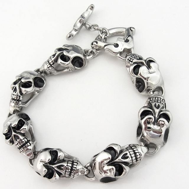 Stainless Steel Bracelet Mens Womens Skull 7 Bangles Silver Lock Accessories Total Amount Over 3000 Yen In Courier Cat