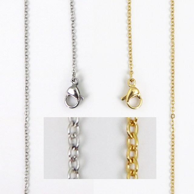 ネックレス お手持ちのペンダントトップに ステンレスチェーン アズキ シルバー ゴールド 公式 トレンド 1mm カラー 40-45-50cm