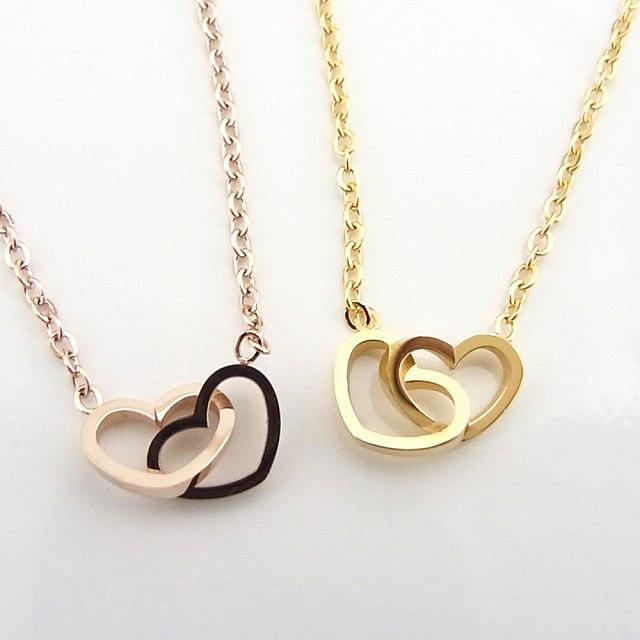 GEM BAZAAR  Women s stainless steel Necklace Double Gold pink twin ... 4748dc2872