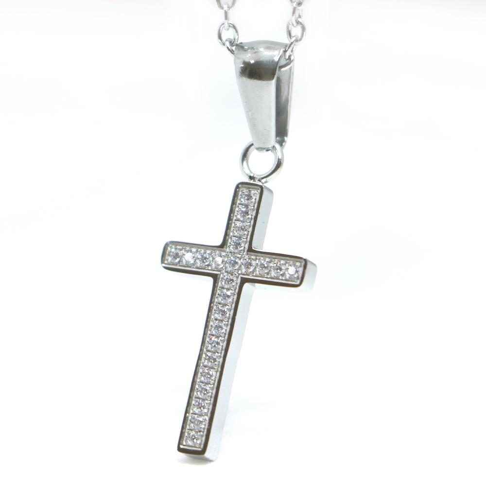 SS 新発売 10%オフSALE ネックレス プレゼントに ステンレス クロス 十字架 贈物 ジルコニア セール メンズ アクセ シルバー カラー SALE アクセサリー レディース