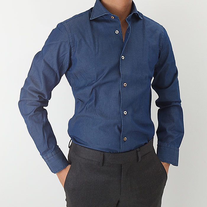 【アウトレット】BORRIELLO(ボリエッロ)シャンブレー セミワイドカラー シャツ 4/INDIGO(A1-IDRO-3165)【メンズ】