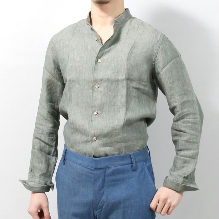 【売り尽くし最終SALE】BORRIELLO ボリエッロ リネン バンドカラー シャツ メンズ 4/OLIVE COREANO IDRO-10305