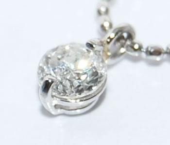 2本爪 ダイヤモンド-0.2ct シンプル Pt ペンダントネックレス 【店頭受取対応商品】