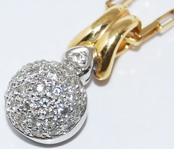 ダイヤモンド-0.31ct ボールパヴェデザイン K18/K18WG ペンダントネックレス 【店頭受取対応商品】