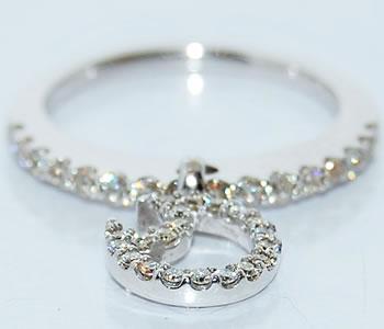 ダイヤモンド-0.48ct ムーン 月デザイン ポイント リング 指輪 【店頭受取対応商品】