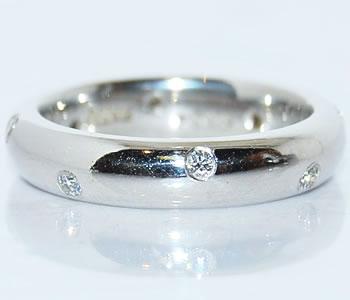 ダイヤモンド-0.154ct 鍛造 オリジナル 全周 ドッツ デザイン Pt リング 指輪 【店頭受取対応商品】