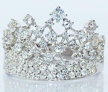 ダイヤモンド-1.20ct 王冠/クラウン/ティアラ K18WG デザインリング 【受注発注】