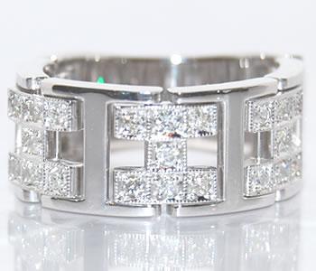 【送料無料】K18WG ダイヤモンド-0.50ct H型プレートチェーンデザインリング