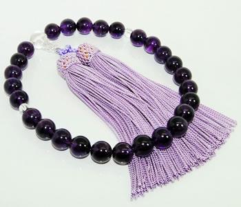 【送料無料】アメシスト/アメジスト-紫水晶-約10mm 数珠-念珠- 本水晶玉&正絹房