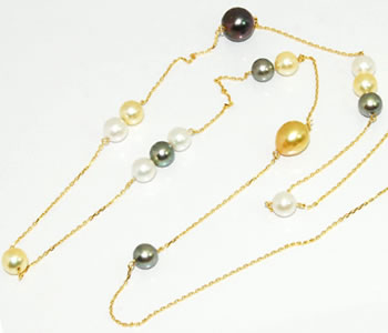 マルチカラー 3カラー あこや真珠 (パール) 7.5mmアップ&南洋真珠2P オリジナル デザイン K18 ロングステーションネックレス 【店頭受取対応商品】