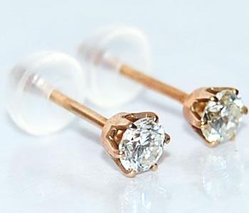 【送料無料】K18PG ダイヤモンド-0.21ct 6本爪オリジナルスタッドピアス