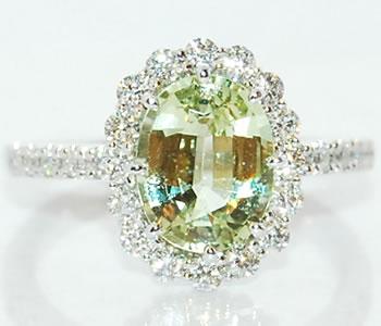 グロッシュラーガーネット-2.39ct&ダイヤモンド 取り巻き Pt デザインリング 【受注発注】