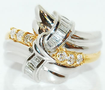 ダイヤモンド-0.5ct リング 指輪 Pt/K18 コンビ サイズ15号