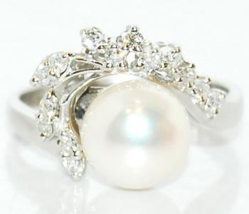 あこや本真珠(パール) 約8.7mm&ダイヤモンド リング 指輪 Pt プラチナ サイズ14号 【店頭受取対応商品】