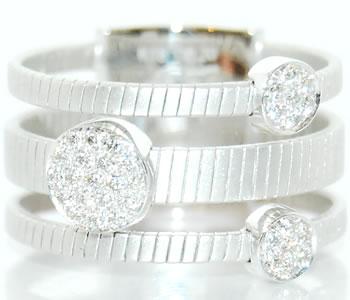 ダイヤモンド-0.20ct 3連 プレート状ベルトタイプ 750WG 広幅デザインリング 【750G各色対応】 【受注発注】