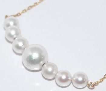 あこや真珠 ベビーパール オリジナル デザイン K18 ネックレス 【店頭受取対応商品】
